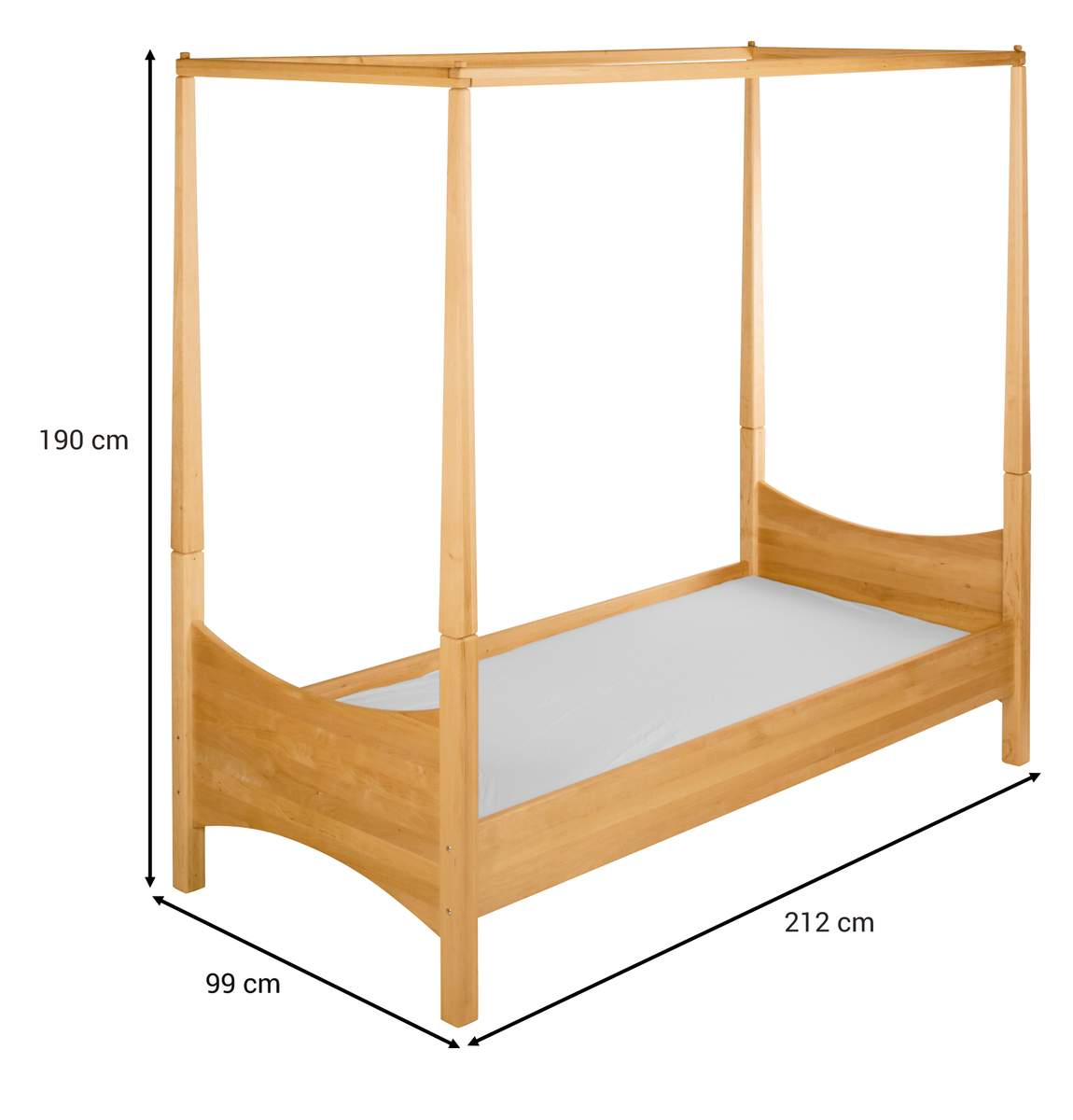biokinder komplett set noah himmelbett kinderbett 90x200 cm erle. Black Bedroom Furniture Sets. Home Design Ideas