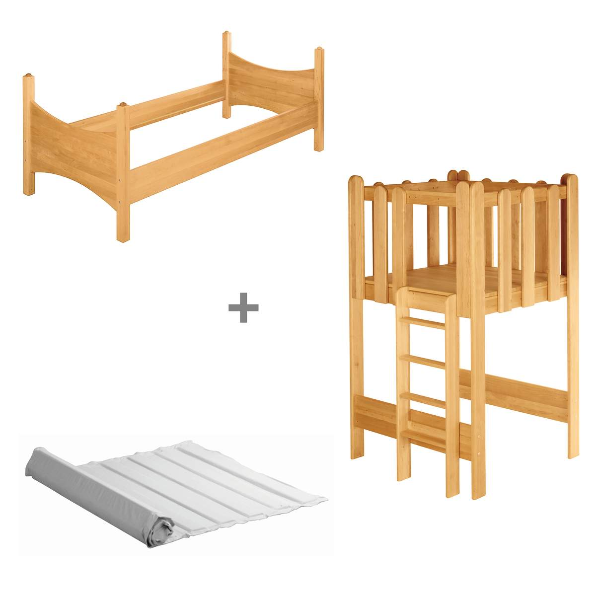 biokinder komplett set noah kinderbett mit spielturm erle. Black Bedroom Furniture Sets. Home Design Ideas