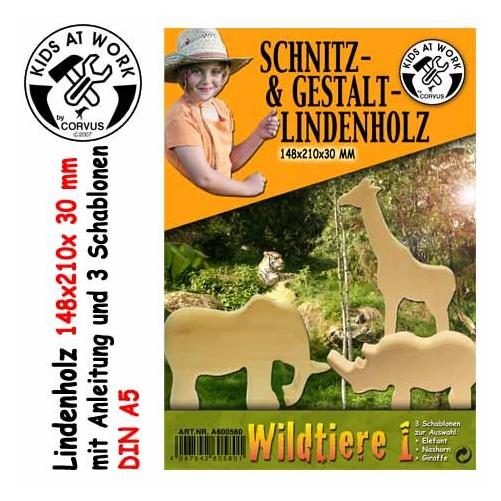 Artikelbild: Schnitzset Schablone Wildtiere, Lindenholz