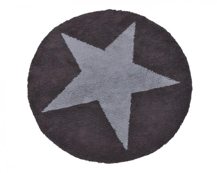 biokinder wende teppich rund mit stern blau grau aus. Black Bedroom Furniture Sets. Home Design Ideas