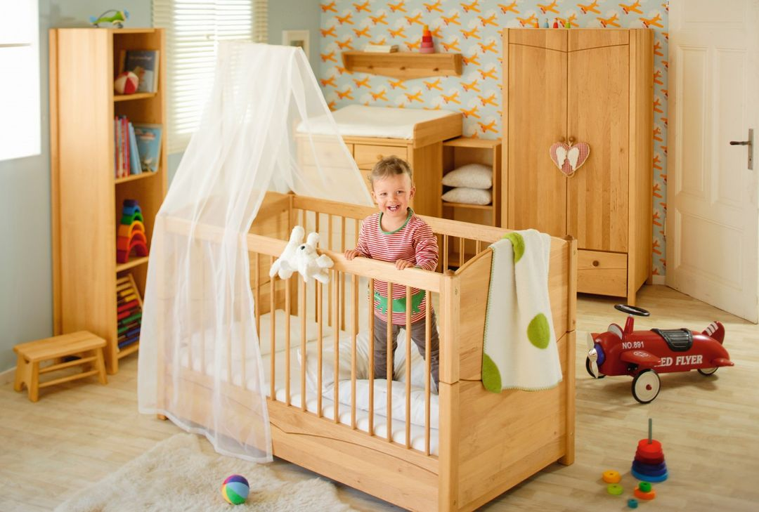 biokinder babybett kinderbett mit betthimmelhalter 70x140 bio massivholz erle ebay. Black Bedroom Furniture Sets. Home Design Ideas