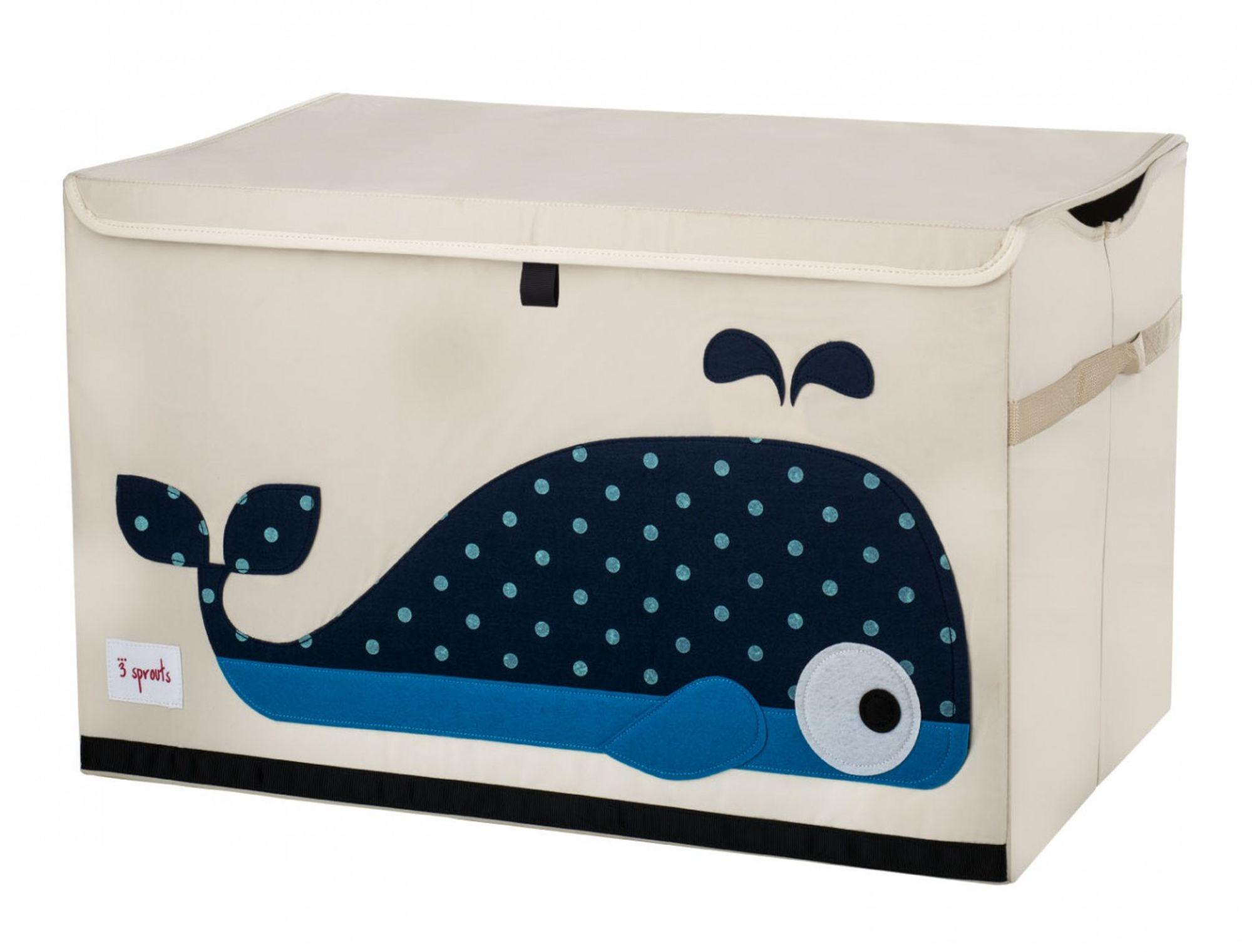 BioKinder | Aufbewahrungskiste Ordnungsbox mit Deckel Wal, 3 Sprouts