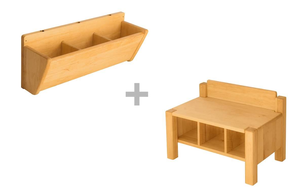 Artikelbild: Spar-Set: Robin Kindergartenbank mit Hänge-Garderobe 60 cm