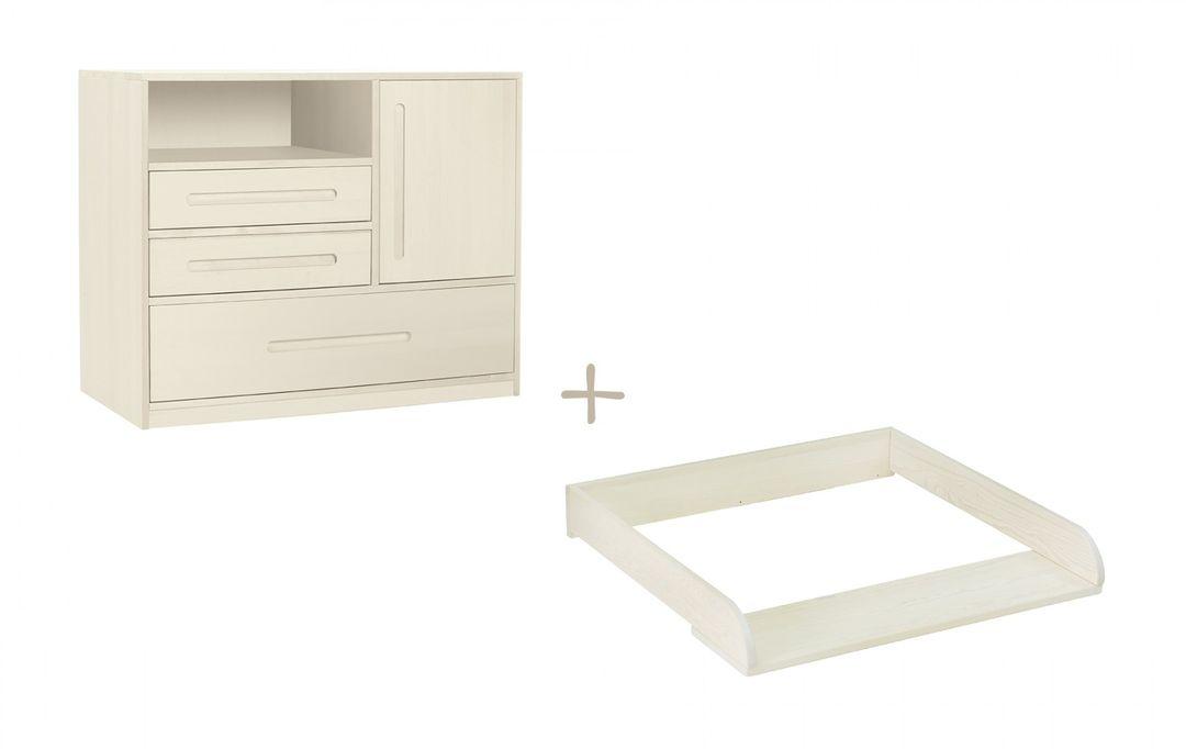 biokinder spar set lina kommode mit wickelaufsatz massivholz kiefer wei. Black Bedroom Furniture Sets. Home Design Ideas