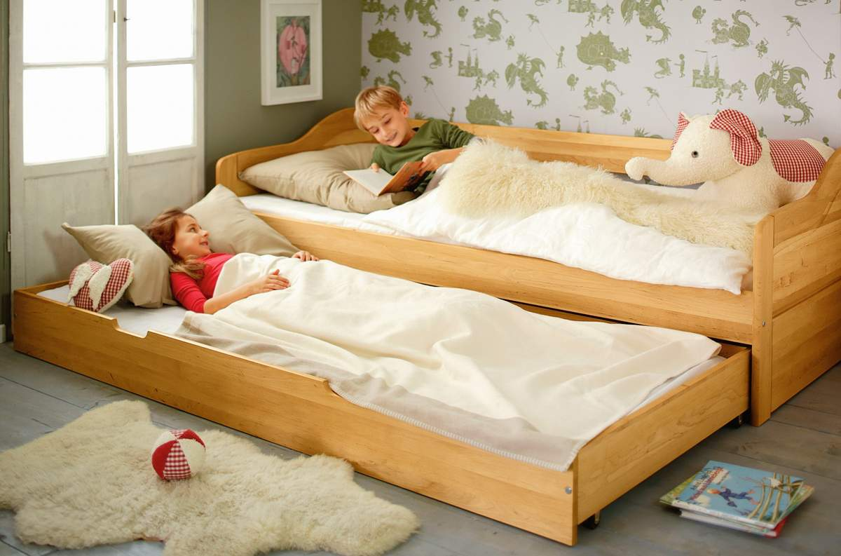 Artikelbild: Set Nico Schlafsofa mit Matratzen-Bettkasten und 2 Lattenrosten 90x200 cm Erle