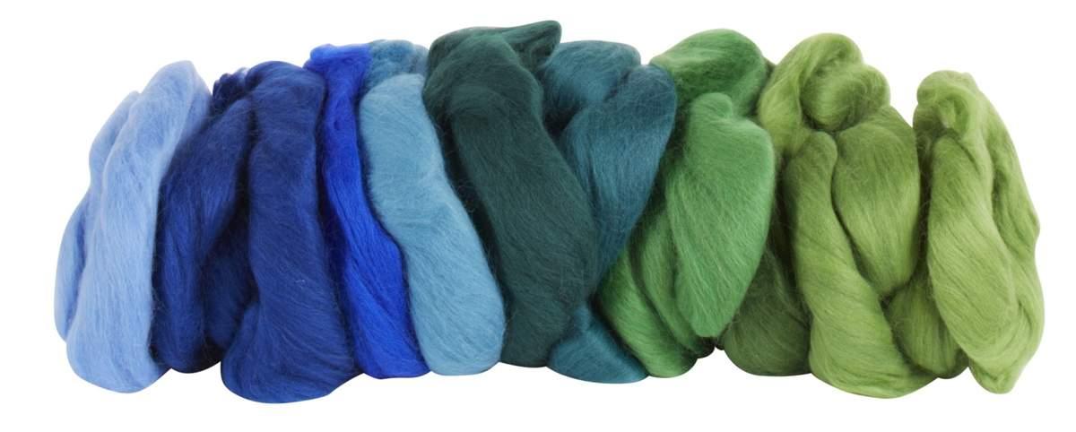 Artikelbild: Merinowolle 200 g Blau/Grün 9 Farbtöne, Wichtelwerkstatt Andrea Rath