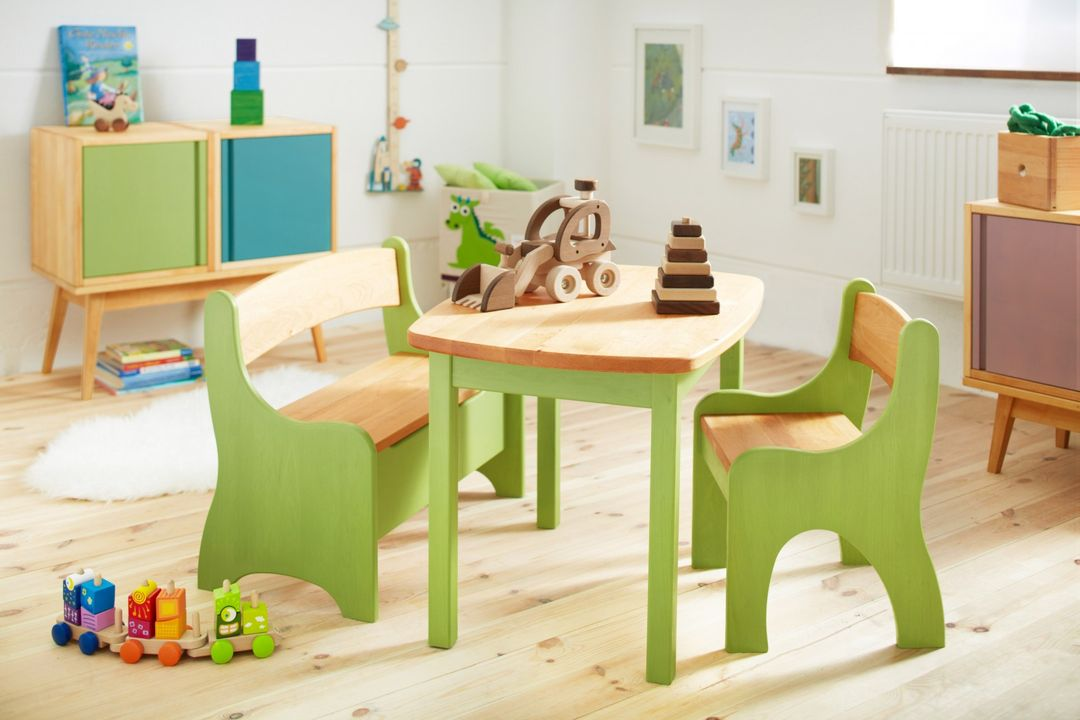 kindersitzgruppe tisch mit bank und stuhl kindertisch kinderstuhl holz erle neu ebay. Black Bedroom Furniture Sets. Home Design Ideas