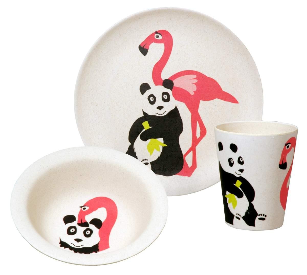 Artikelbild: Geschirrset Panda mit Flamingo, Zuperzozial
